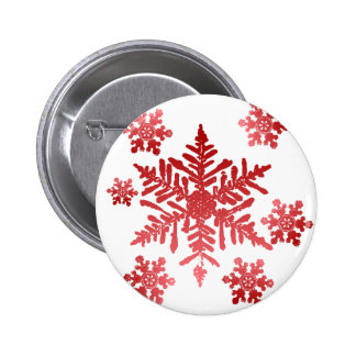 Red Snowflakes 6 Cm Round Badge