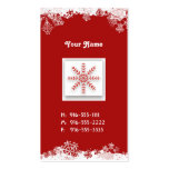 Red Snowflakes Business Cards