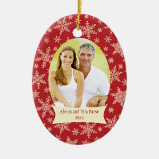 Red snowflakes Christmas holiday photo ornament