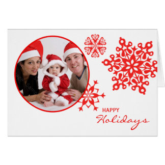Red Snowflakes Folded Photo Christmas Greeting Card