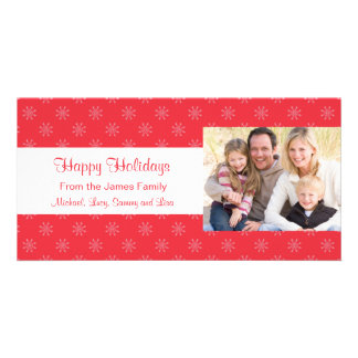 Red Snowflakes Holiday Christmas Card Picture Card