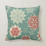 Red snowflakes on a green background pillow