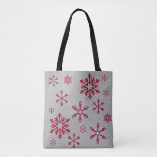 Red Snowflakes on Gray Everything Bag