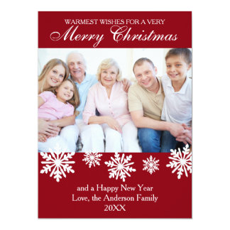Red Snowflakes Photo - 6x8 Christmas Card