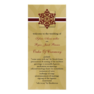 red snowflakes winter wedding program rack cards