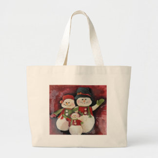 Red Snowman Family Large Tote Bag