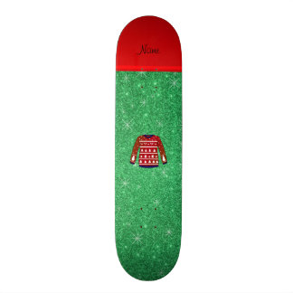 Red snowman ugly christmas sweater green glitter 21.6 cm old school skateboard deck