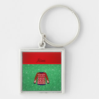 Red snowman ugly christmas sweater green glitter Silver-Colored square key ring
