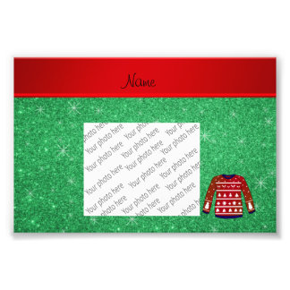 Red snowman ugly christmas sweater green glitter photo print