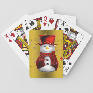 Red Snowmen on Gold Playing Cards