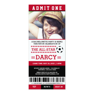 Red Soccer Bachelorette Party Invites