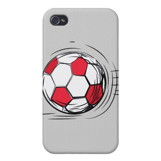 Red Soccer Ball and Gifts Case For The iPhone 4