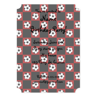 Red soccer ball checkers 13 cm x 18 cm invitation card