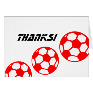 Red Soccer Balls Thanks! Card
