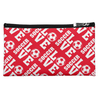Red Soccer Love Makeup Accessories Bag