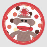 Red Sock Monkey Favour Sticker Seals - Baby Shower