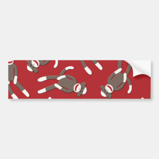 Red Sock Monkey Print Bumper Sticker