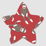 Red Sock Monkey Print Star Stickers