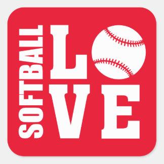 Red Softball Love Square Sticker