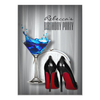 red sole stiletto martini girly birthday party custom invitations