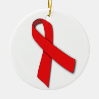 Red Solidarity Ribbon of People Living with AIDS Christmas Ornament