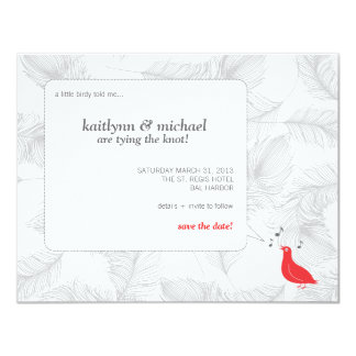 Red Songbird Save the Date Card 11 Cm X 14 Cm Invitation Card