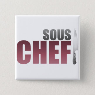 Red Sous Chef 15 Cm Square Badge