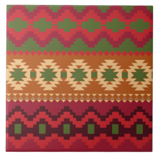 red southwest pattern -  western abstract art large square tile