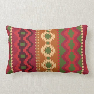 red southwest pattern -  western abstract art lumbar cushion