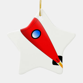 Red Space Rocket Ceramic Star Decoration