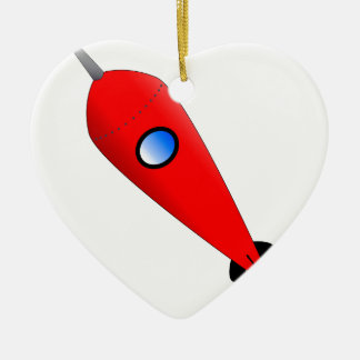 Red Space Rocket Christmas Ornament