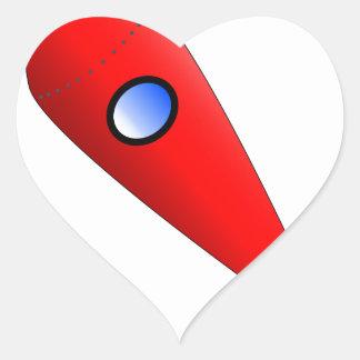 Red Space Rocket Heart Sticker
