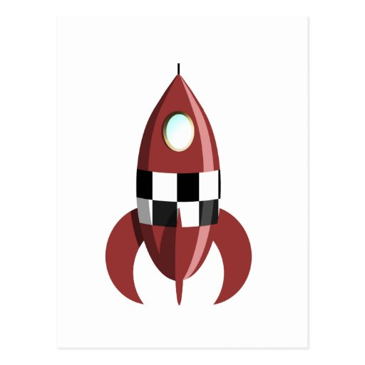 Red Space Rocket Post Card