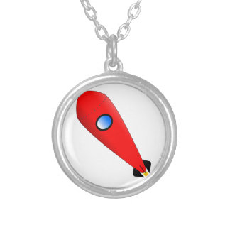 Red Space Rocket Silver Plated Necklace