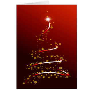 RED SPARKLE CHRISTMAS TREE GREETING CARD
