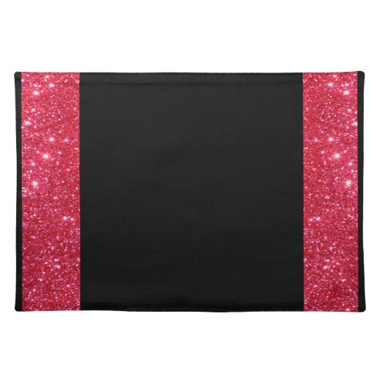 Red Sparkle Glitter Black Customisable Holiday Art Placemat