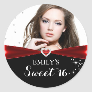 Red Sparkle Heart Photo Sweet Sixteen Sticker