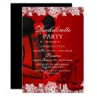 Red Sparkle Heels & Lace Corset Bachelorette Party Card