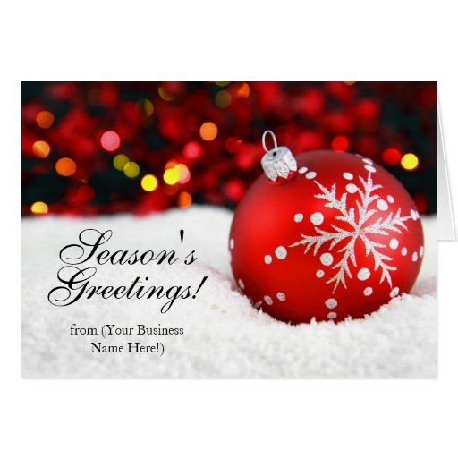 Red Sparkle Imprinted Business Christmas Cards
