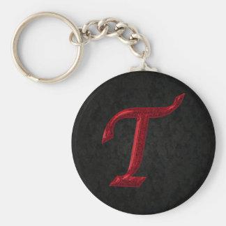 Red Sparkle Monogram T Key Ring