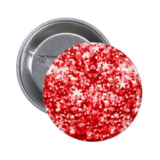 Red sparkles glitter and stars button