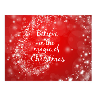 Red Sparkles with Christmas Magic Quote Postcard