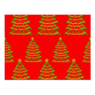 Red sparkling Christmas trees Postcard