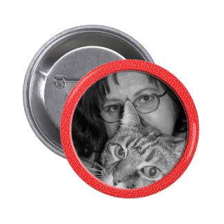 red speckles frame 6 cm round badge
