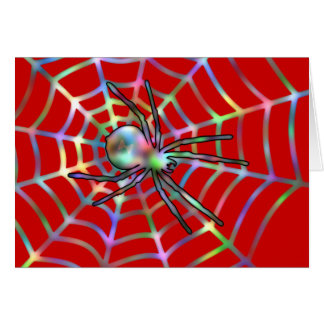 Red Spider and Spider Web Halloween Card