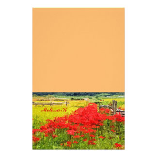 Red Spider Lilies Vivid Rice Field Rural Painterly Personalized Stationery