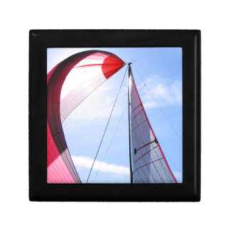 Red Spinnaker With Sun Small Square Gift Box