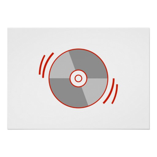 Red Spinning CD Poster
