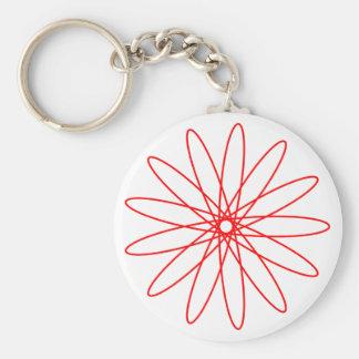 Red Spirograph Basic Round Button Key Ring