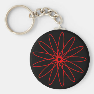 Red Spirograph Basic Round Button Key Ring